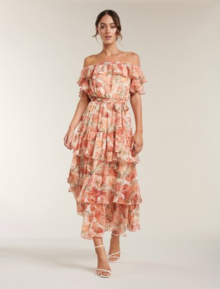 Forever New Becca Bardot Ruffle Maxi Dress - Coral Sunrise Floral - 10