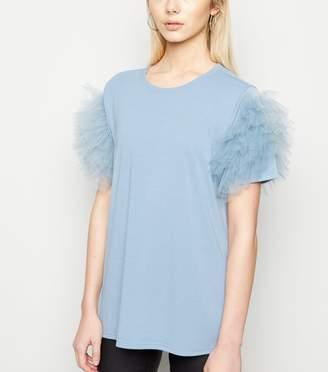 New Look Mesh Ruffle Sleeve T-Shirt