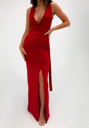 Missguided Red Slinky Wrap Front Ruched Maxi Dress