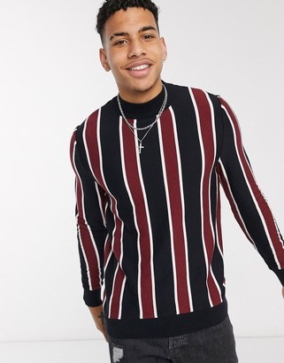 Burton Menswear turtle neck jumper with stripe in navy