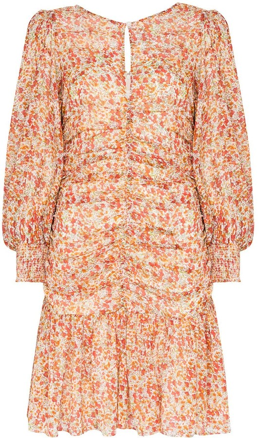 By Ti Mo Ruched Floral Print Mini Dress