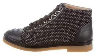 Chanel Tweed Cap-Toe Booties