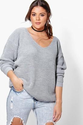boohoo Plus Oversized V Neck Sweater