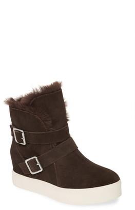 J/Slides Wells Faux Fur Trim High Top Sneaker