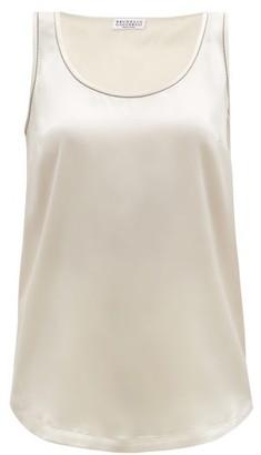 Brunello Cucinelli Monili Trim Silk-blend Satin Camisole - Ivory