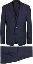 Hugo Arvon Blue Three-piece Wool Suit