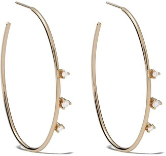 Mizuki 14kt Gold Diamond Hoop Earrings