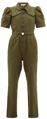 Sea Adalene Puff-sleeve Cotton-canvas Jumpsuit - Womens - Khaki