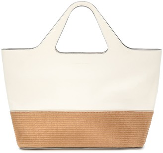 Brunello Cucinelli Large leather and raffia tote