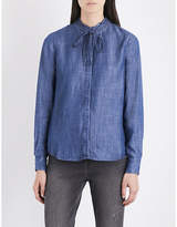 Levi's Ladies Blue Classic Katya Frilled-Collar Chambray Shirt