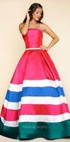 Mac Duggal Box Pleated Strapless Striped Ball Gown