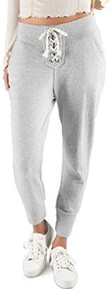 Rebel Canyon Young Women's Light Weight French Terry Lace Up Front Jogger Sweatpant