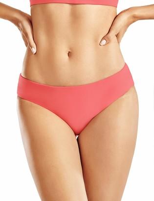 CRZ YOGA Women's Swimsuit Bikini Bottoms Solid Color Swimwear 1 Piece Beachwear with Drawstring Lilac Stone 16