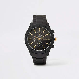 River Island Black chain link round watch