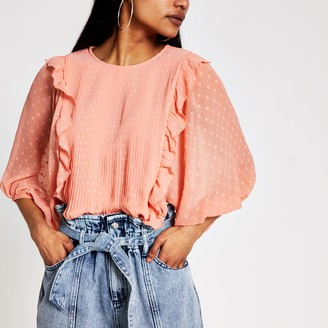 River Island Womens Petite Orange pleated frill blouse
