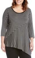 Karen Kane Plus Size Women's Stripe Block Top