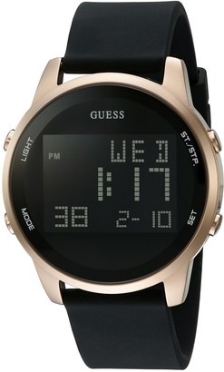GUESS Comfortable Gold-Tone + Black Stain Resistant Silicone Digital Watch with Day Date 24 Hour Military/Int'l Time