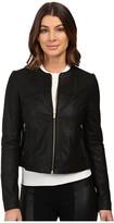 Via Spiga Collarless Center Zip Leather Jacket