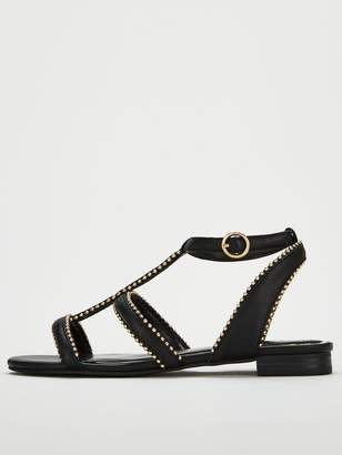 Very Hapur Stud Trim Flat Sandals - Black