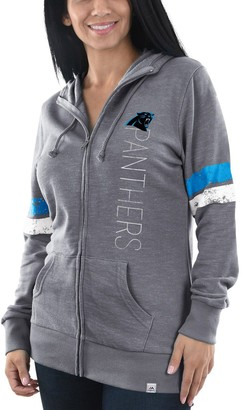 Majestic Women's Heathered Gray Carolina Panthers Athletic Tradition Full-Zip Hoodie