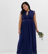 TFNC Plus Plus lace detail maxi bridesmaid dress in navy