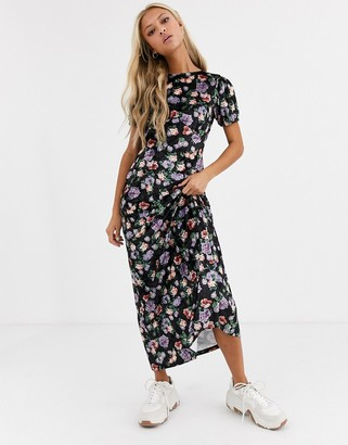 ASOS DESIGN printed velvet maxi tea dress