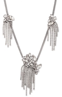 "Givenchy Hematite-Tone Crystal Fringe Frontal Necklace, 16"" + 3"" extender"