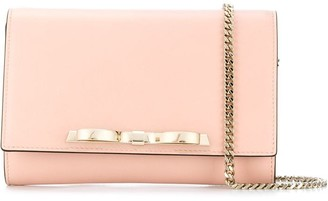 RED Valentino RED(V) metallic bow clutch