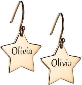 FINE JEWELRY Personalized 14K Gold Over Silver Star Drop Earrings