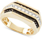 Macy's Men's Diamond Squared Three-Row Ring (1/2 ct. t.w.) in 10k Gold