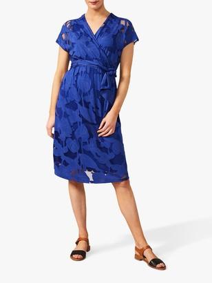 Phase Eight Eleanor Floral Placement Tie Wrap Dress, Cobalt