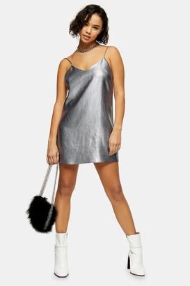 Topshop Womens Petite Metallic Silver Slip Dress - Silver