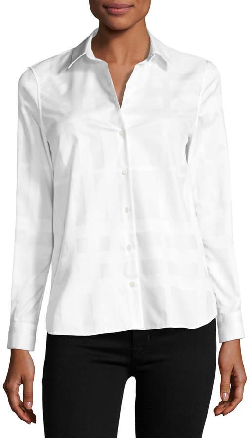 Burberry Aster Jacquard Check Long-Sleeve Shirt, White