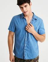 American Eagle Outfitters AE Splatter Dye Short Sleeve Oxford Shirt