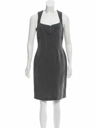 Thierry Mugler Knee-Length Linen-Blend Dress