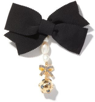 Erdem Crystal-charm And Faux-pearl Bow Brooch - Crystal