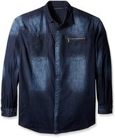 Sean John Men's Big and Tall Long Sleeve Denim Button up Shirt