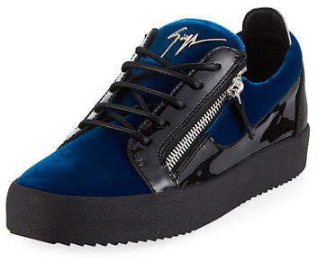 Giuseppe Zanotti Men's Velvet & Patent Leather Low-Top Sneakers