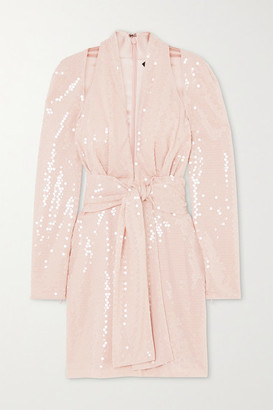 Tom Ford Belted Sequined Crepe De Chine Halterneck Mini Dress - Blush