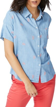 Court & Rowe Embroidered Short Sleeve Cotton Chambray Shirt
