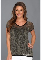 Vince Camuto TWO by Metallic Knit Tee (Onyx Gold) - Apparel