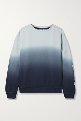 The Upside Alena Embroidered Ombre Cotton-jersey Sweatshirt - Navy