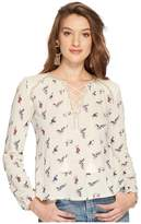 Lucky Brand Lace-Up Peasant Top Women's Clothing