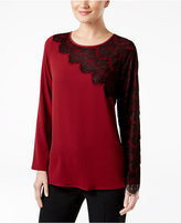Cable & Gauge Cable & Gauged Asymmetrical Lace-Trim Top