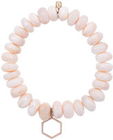 Sydney Evan Pink moonstone beaded bracelet with diamond hexagon charm