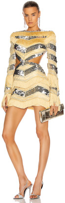 RAISA&VANESSA Sequin and Fringe Cut Out Mini Dress in Yellow | FWRD