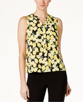Nine West Lemon-Print V-Neck Shell