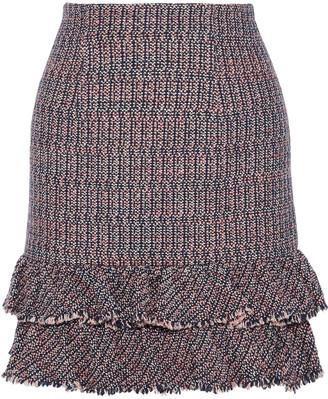 Rebecca Taylor Ruffled Cotton-blend Boucle-tweed Mini Skirt