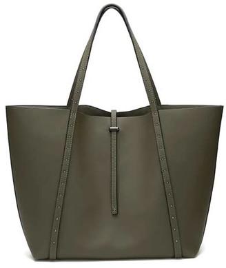 Mint Velvet Cosima Khaki Studded Tote Bag