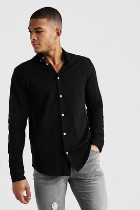 boohoo Mens Black Long Sleeve Regular Collar Pique Shirt With Cuff, Black